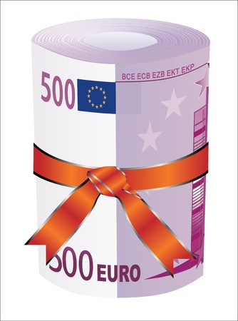 euromoney: 500 euro money in a red ribbon with a gift bow