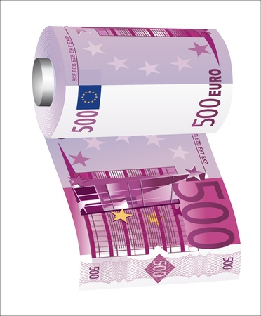 worthless: A toilet paper roll of 500 euro banknotes, symbolizing the careless spending of money