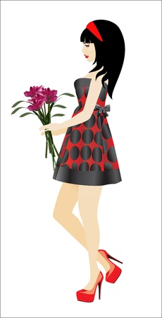 illustration girl flowers Stock Vector - 19394450