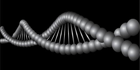 DNA model isolated on black background  Vector