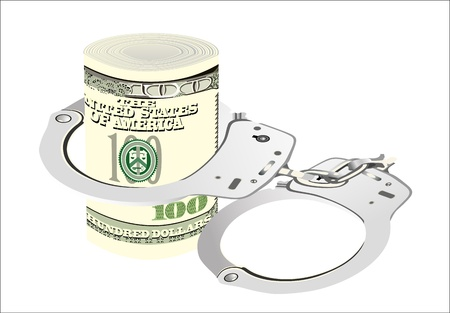 Many dollar bills with handcuffs  isolated on white Vector