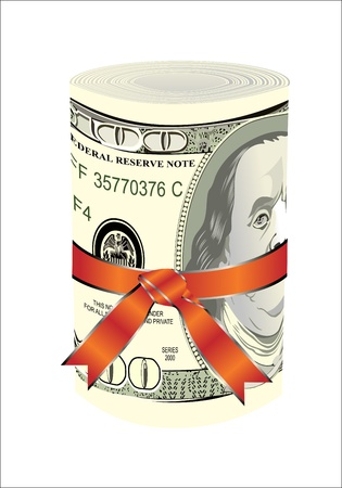 greenback: One roll from dollars in a red ribbon with a gift bow  Illustration