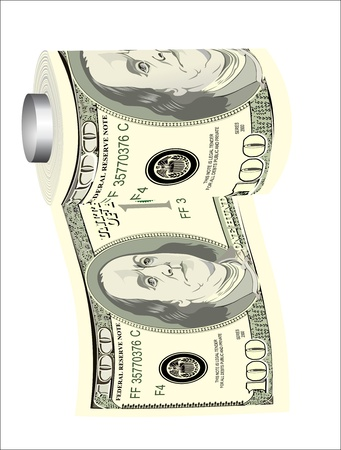 A toilet paper roll of hundred dollar bills on a dispenser, symbolizing the careless spending of money Vector