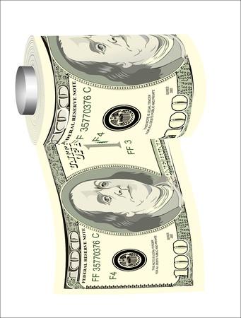 A toilet paper roll of hundred dollar bills on a dispenser, symbolizing the careless spending of money Stock Vector - 19394578