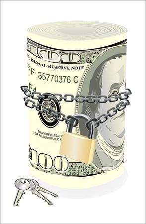 geketend: Rol van 100 dollar geketend en geïsoleerd opgesloten op wit Stock Illustratie