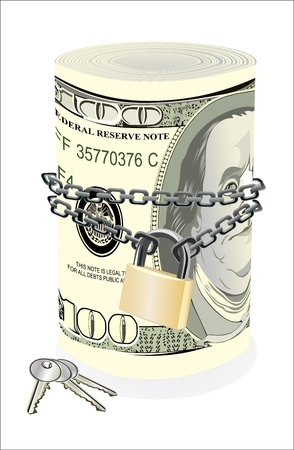 chained: Roll of 100 dollars chained and locked isolated on white Illustration
