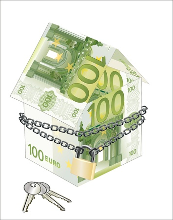housing problems: The house made of 100 Euro banknotes with lock and keys on a white background