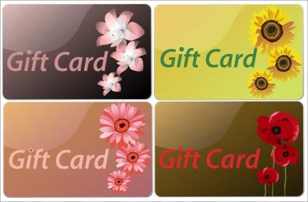 Set of flowers colorful gift cards  Vector
