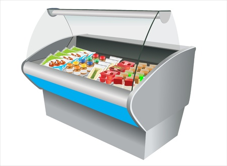 Fresh refrigerated in refrigerator in a shop Vector