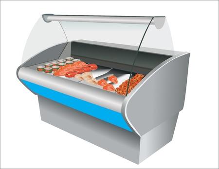 caviar: Crevettes fra�ches de poisson frais et caviar au r�frig�rateur dans un magasin Illustration
