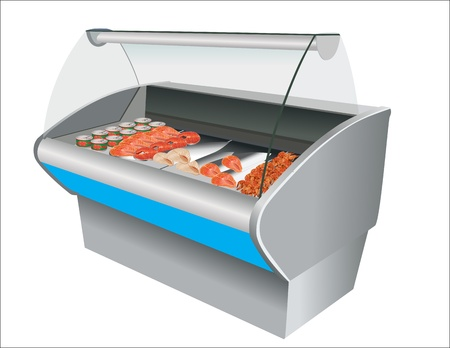 Fresh cool fish shrimp and caviar in refrigerator in a shop Vector