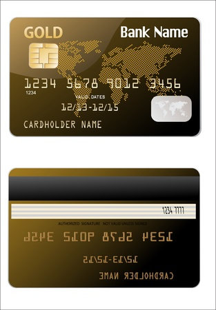 debit card: illustration of detailed glossy gold credit card isolated on white background Illustration