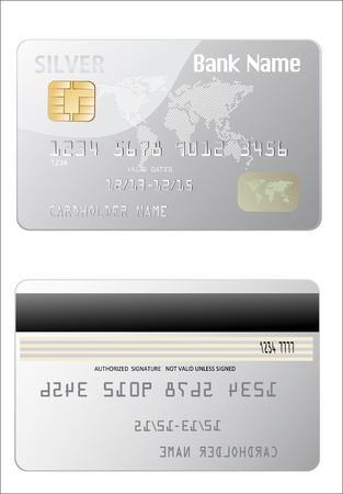 e card: illustration of detailed glossy silver credit card isolated on white background Illustration