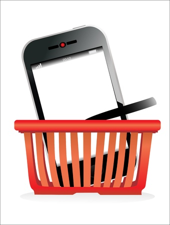 Shopping basket and smartphone on white background  Stock Vector - 19393919