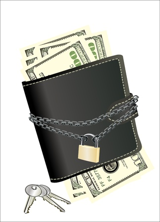 precautions: A wallet with padlock and keys - symbolic for safety precautions on either spending money or pick-pocketing