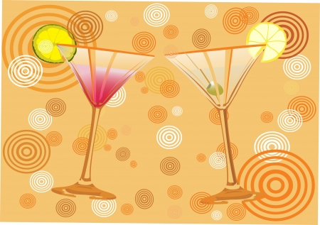 Vector orange background with alcohol cocktail   Vector