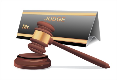 defendant: A wooden judge gavel and soundboard isolated on white background
