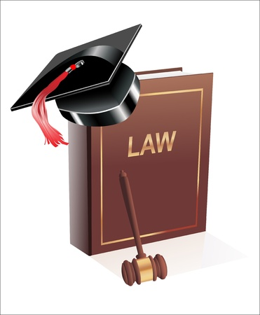 supreme court: education Judge lawsuit hammer on law book illustration design over white