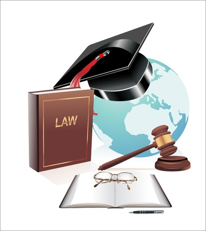 international globe, scales of justice, gavel and book illustration design over a white background