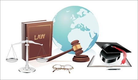 international globe, scales of justice, gavel and book illustration design over a white background Vector