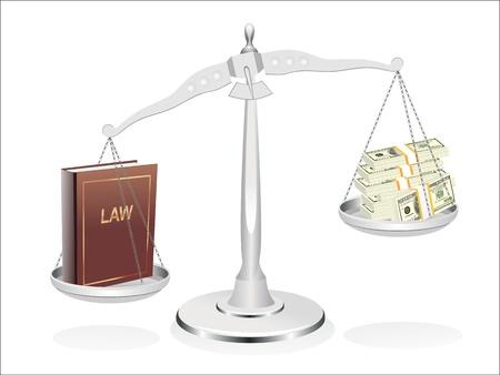 Balans tussen recht en geld illustratie ontwerp op een witte achtergrond