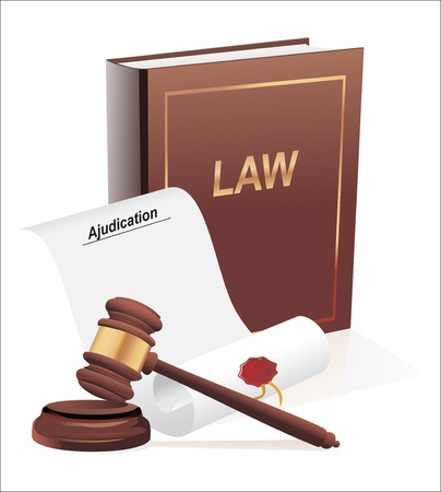 bounding: verdict, gavel and law book illustration design over a white background