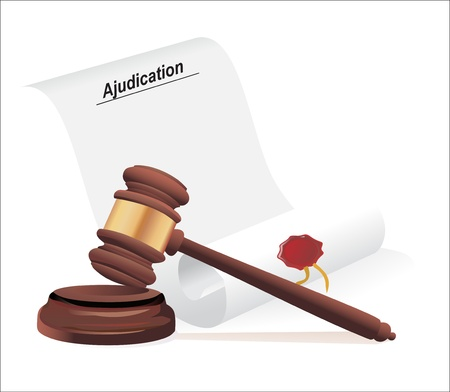 verdict and gavel illustration design over a white background Vector