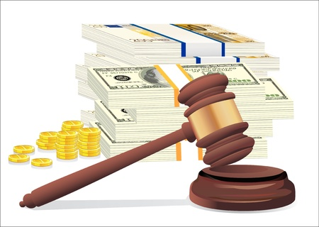 Gavel and money stack isolated on white Stock Vector - 19394653
