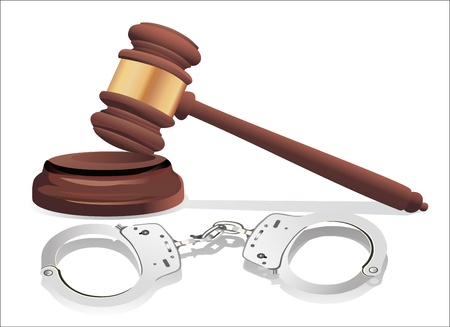 Gavel and handcuffs isolated on white Illustration