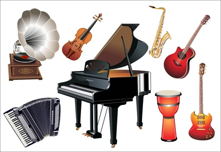 grand piano: Different music instruments on the white background Illustration