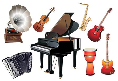 grand piano: Los diferentes instrumentos de m�sica en el fondo blanco Vectores