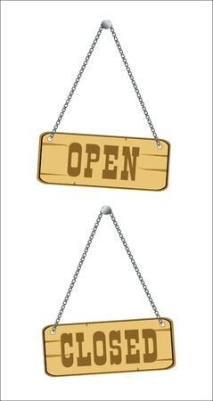 open and closed signs isolated over white Vector