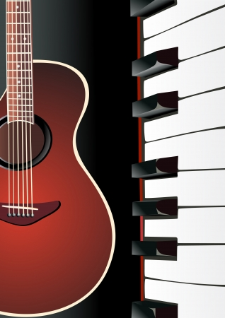 background with piano and guitar Vector