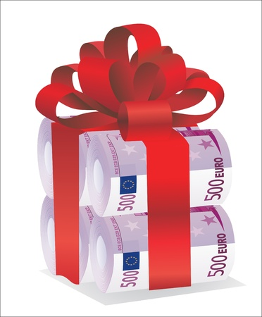 Rolls of money wrapped in red bow and ribbon Stock Vector - 19394509