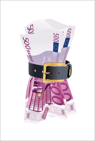 leather belt: 500 euro notes squeezed by leather belt on a white background Illustration