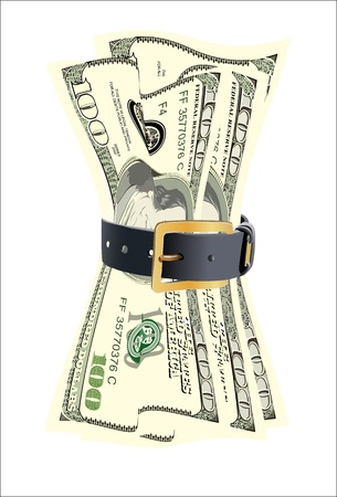 tight: dollar bills squeezed by leather belt on a white background