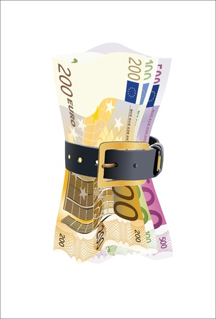 cintur�n de cuero: notas euro presionado por la correa de cuero sobre un fondo blanco