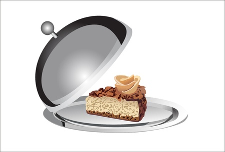 souffle: Dessert on a silver platter on a white background