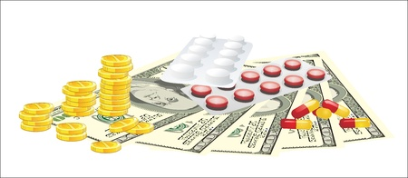 medicare: Pills and money isolated on white