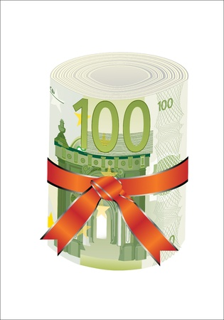 euromoney: 100 euro money in a red ribbon with a gift bow