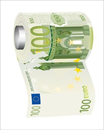 descuidado: Um rolo de papel higiênico de 500 notas de euro, simbolizando os gastos descuidados de dinheiro Ilustração