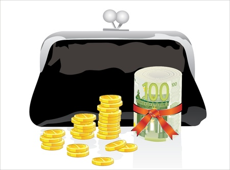 outmoded: Black purse with money on a white background
