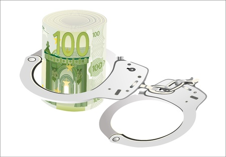 100 Euro rolled with handcuffs  isolated on white