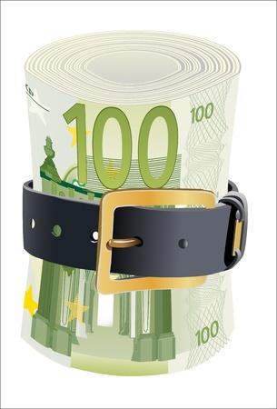 cintur�n de cuero: 100 billetes de euros exprimidos por la correa de cuero sobre un fondo blanco Vectores