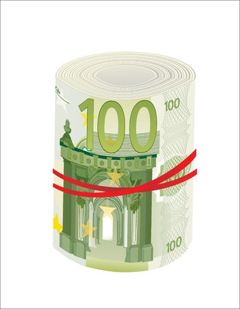 euromoney: 100 Euro rolled up on white background Illustration