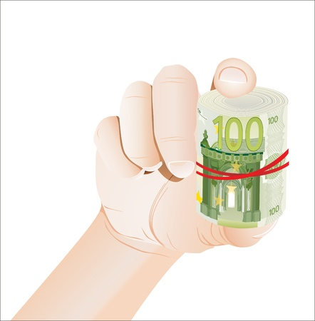 hand holding roll of 100 euro banknotes isolated on white Stock Vector - 19600508