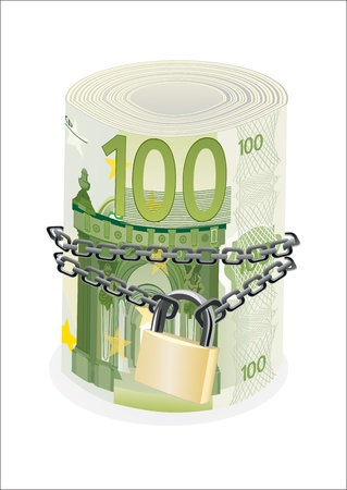 Roll of 100 euro chained and locked isolated on white Vector
