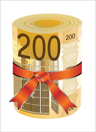 euromoney: 200 euro money in a red ribbon with a gift bow  Illustration