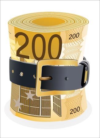 thrift: 200 billetes de euros exprimidos por la correa de cuero sobre un fondo blanco Vectores