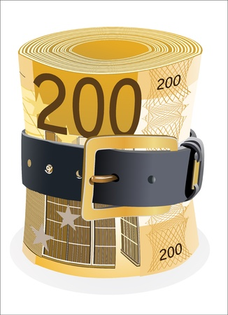 leather belt: 200 euro notes squeezed by leather belt on a white background Illustration